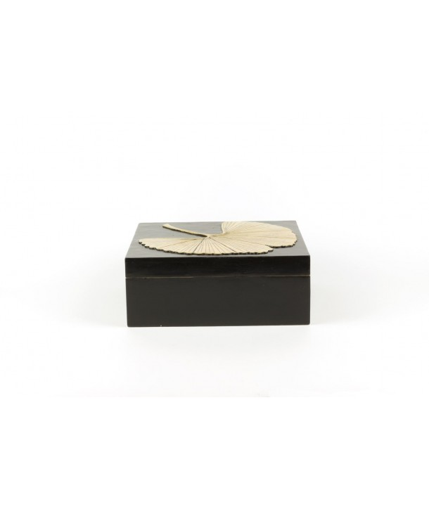 Gingko pattern square box in stone with black background