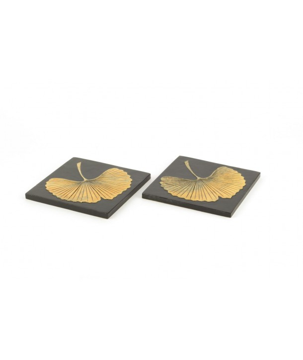 Set of 2 Gingko Square bottle coasters in stone with black background