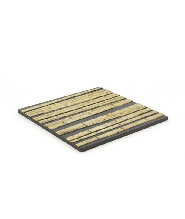 Dessous de plat carré forêt de bambou en pierre fond noir