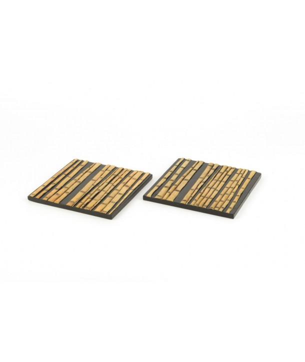 Set de 2 dessous de bouteille carré forêt de bambou en pierre fond noir