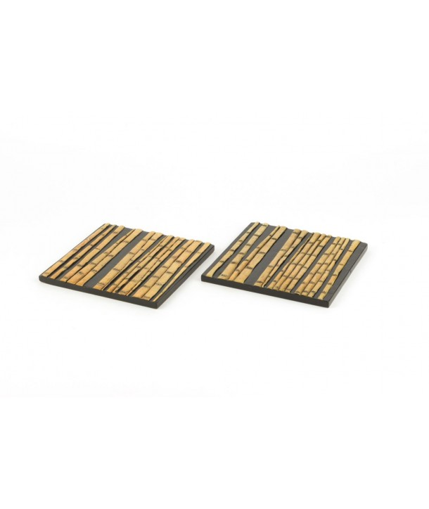 Set of 2 bamboo forest sqaure bottle coasters in stone with black background