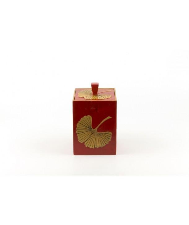 Boîte à thé carrée gingko en pierre fond rouge
