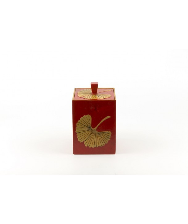 Gingko square tea box in stone with red background