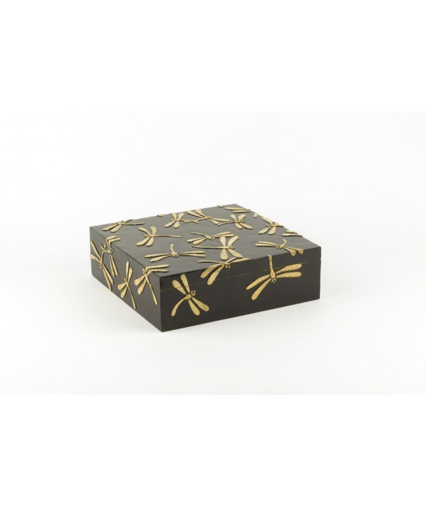 Dragonflies pattern very large square box in stone with black background