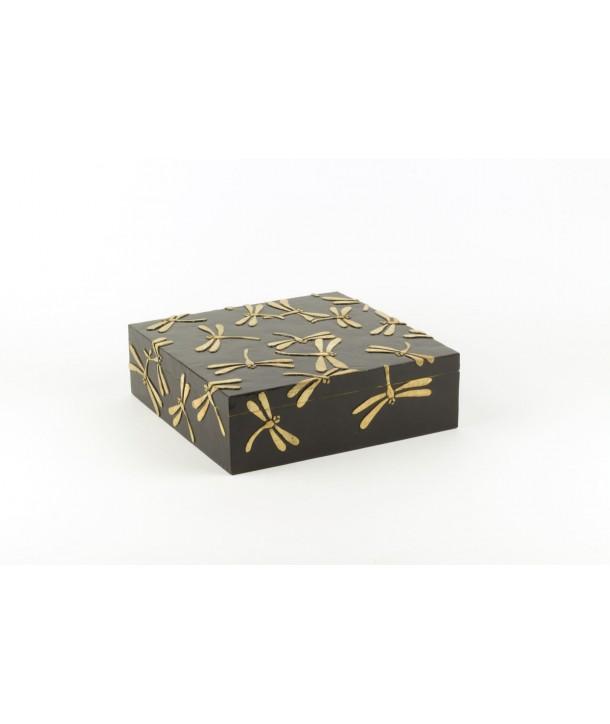 Très grande boîte carrée libellules en pierre fond noir