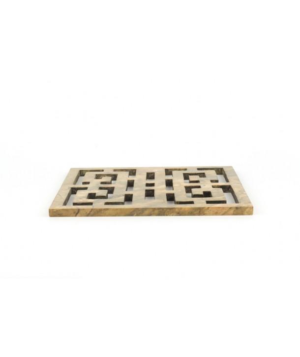 Dessous de plat carré ajouré symbole du bonheur en pierre naturelle