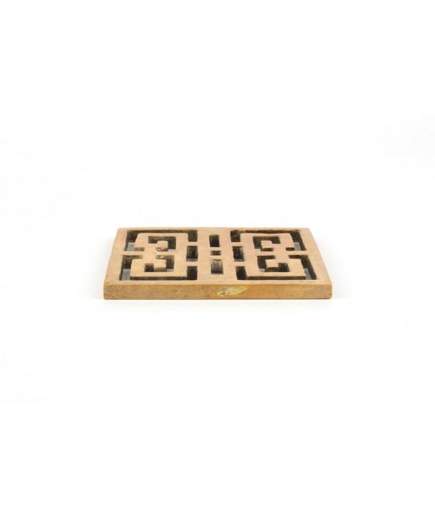 Set de 2 dessous de bouteille carré ajouré symbole du bonheur en pierre naturelle
