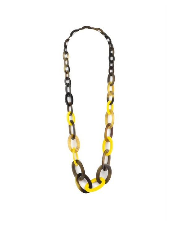 3-size flat oval rings long necklace with yellow lacquer