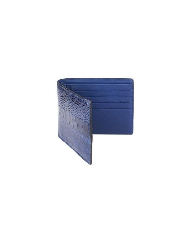 Petit portefeuille cuir autruche et vache en cuir bleu