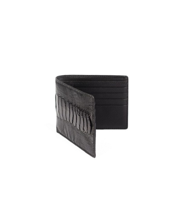 Small wallet in black ostrich and cow leather
