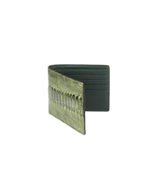 Small wallet in green ostrich and cow leather