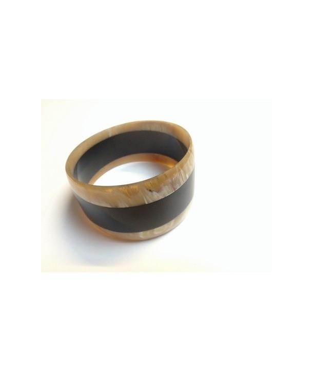 Bracelet trapèze bicolore en corne blonde et noire