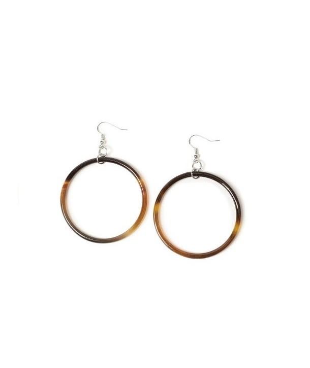 Large single ring earrings in blond horn