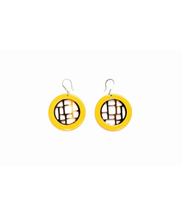 Yellow lacquered checkered earrings