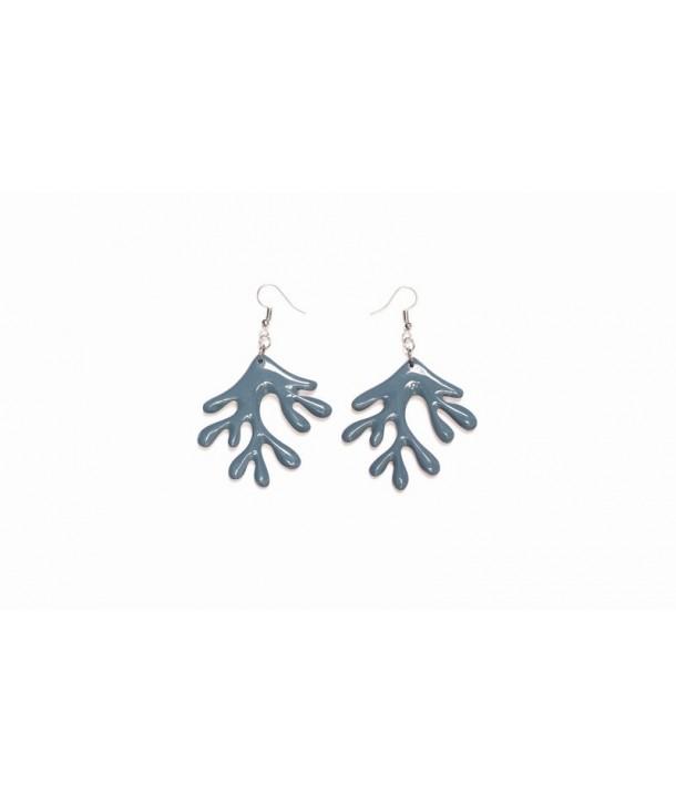 Boucle d'oreille arbre corne noire laque bleu gris