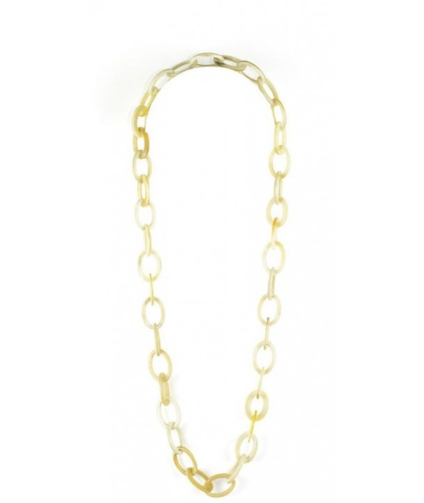 Oval rings long necklace in blond horn