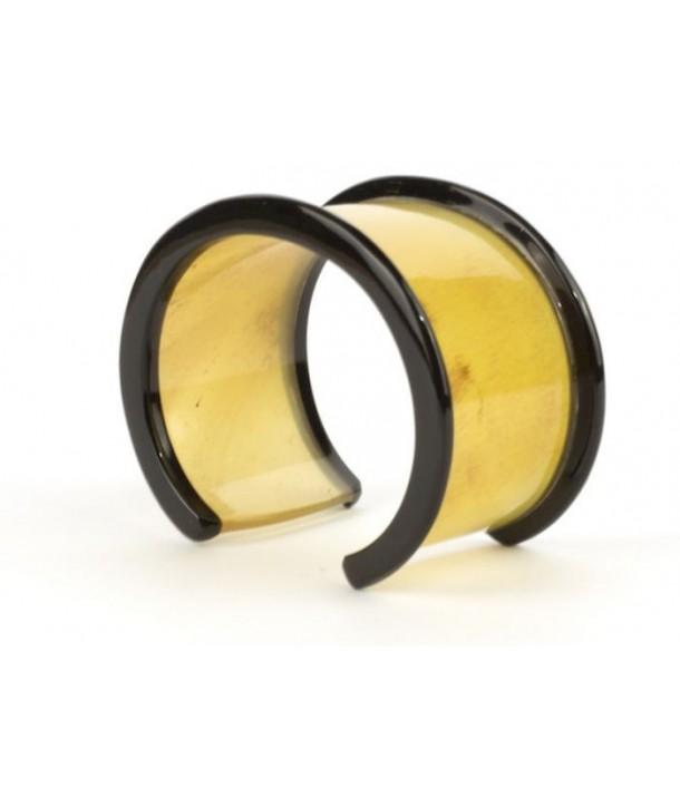 Bracelet ouvert bobine en corne blonde
