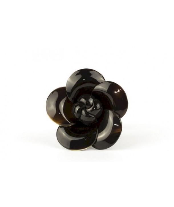 Chouchou fleur en corne noire unie