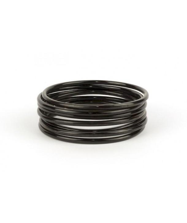Seven-band bracelets in plain black horn