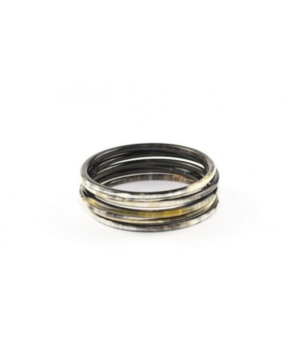 Bracelets semainier en corne noire marbrée