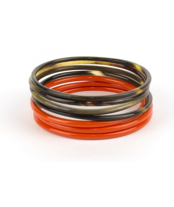 Orange lacquered Seven-band bracelets