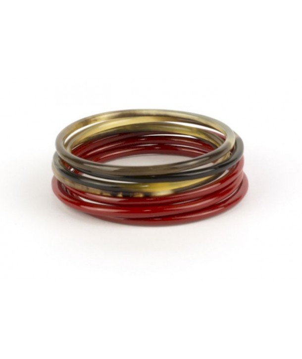 Red lacquered Seven-band bracelets