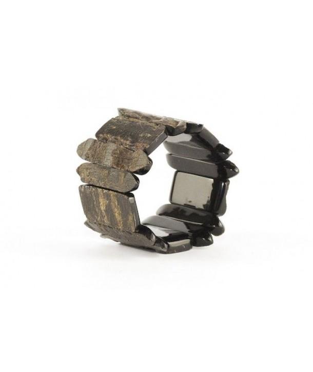 Bracelet articulé pièces brutes en corne noire unie