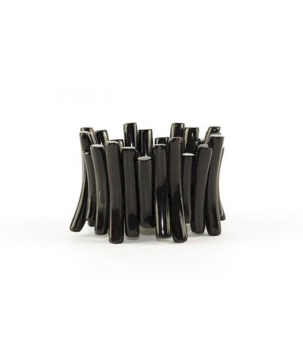 Bracelet articulé batonnets en corne noire unie