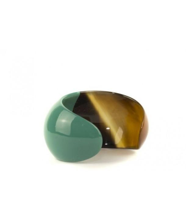 Bracelet ouvert bombé et laqué vert émeraude
