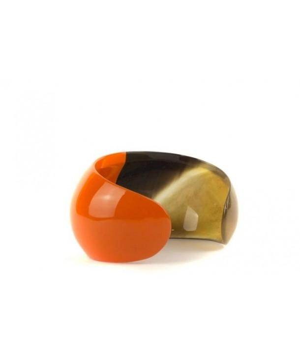 Bracelet ouvert bombé et laqué orange