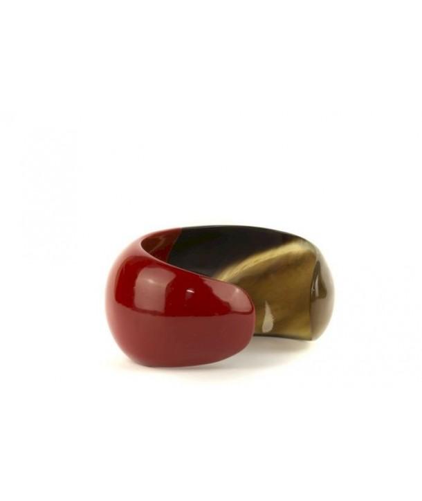 Bracelet ouvert bombé et laqué rouge