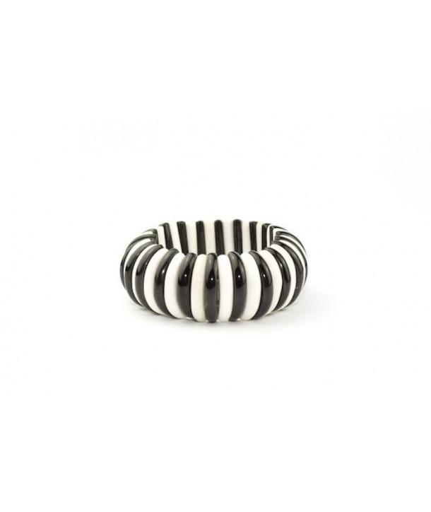 Articulated half-disc bracelet in bone and plain black horn
