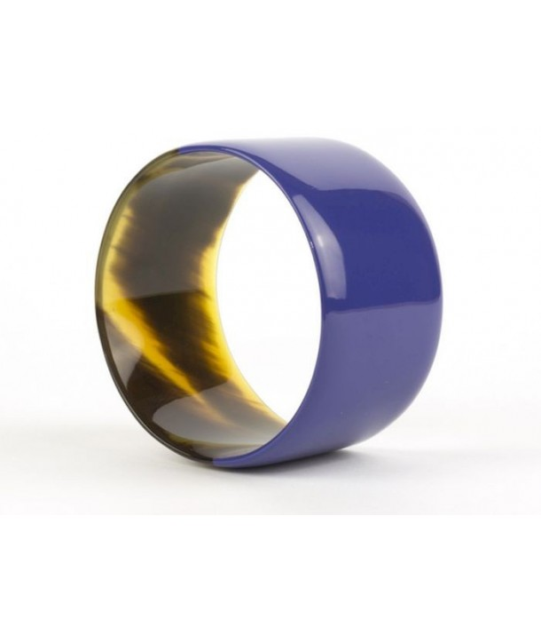 Bracelet large laqué bleu indigo