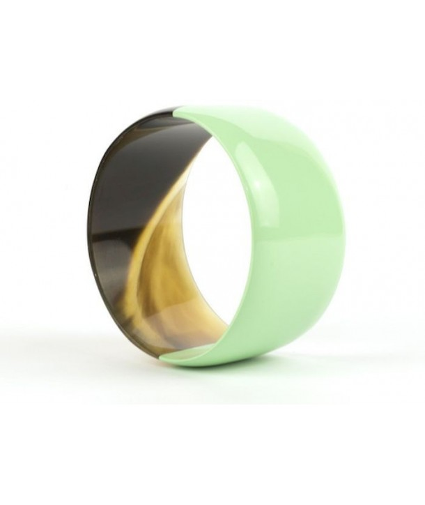 Broad green mint lacquered bracelet