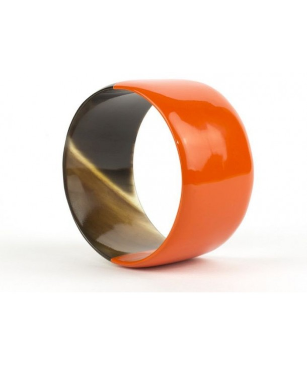 Broad orange lacquered bracelet
