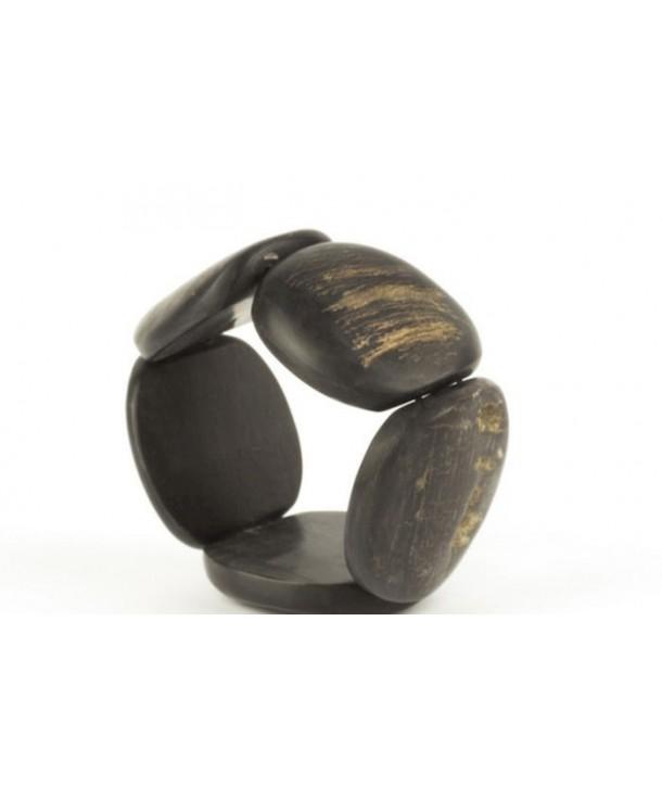 Bracelet articulé galets en corne noire mate