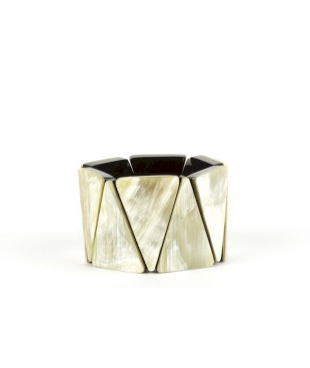 Articulated triangles bracelet in blond and marbled black horn