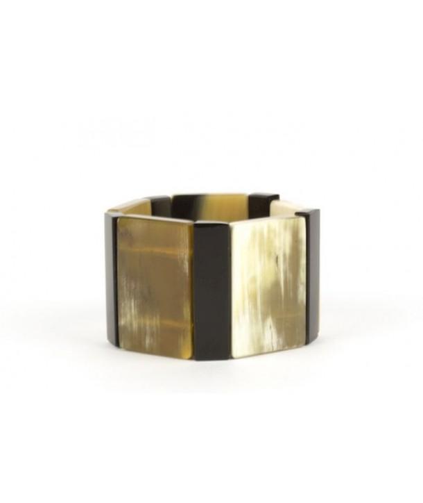 Bracelet articulé rectangles en corne blonde et noire marbrées