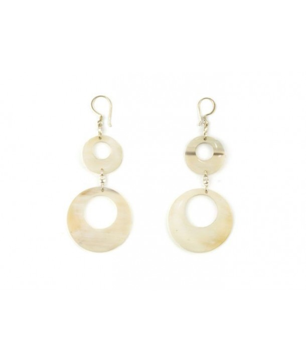 Pierced double-disc earrings in blond horn