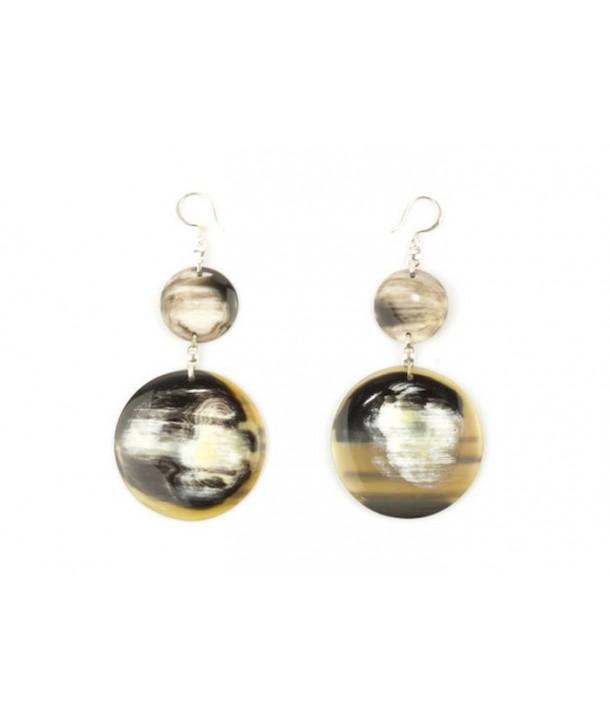 Full double disc earrings in marbled black horn