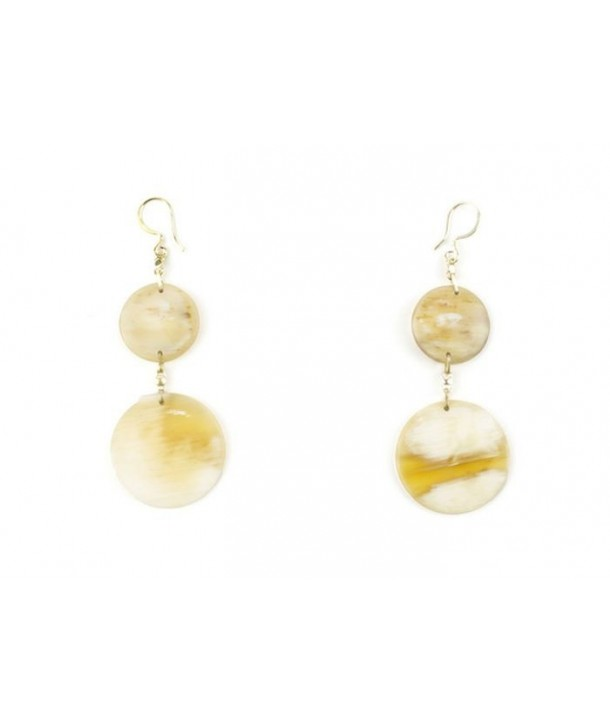 Full double disc earrings in blond horn