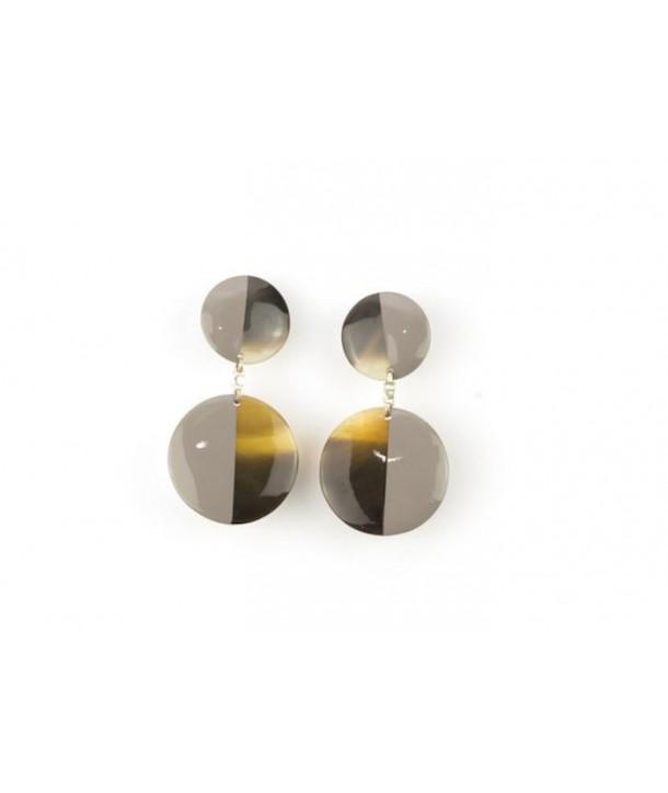 Boucles d'oreilles double disques pleins laqués café crème