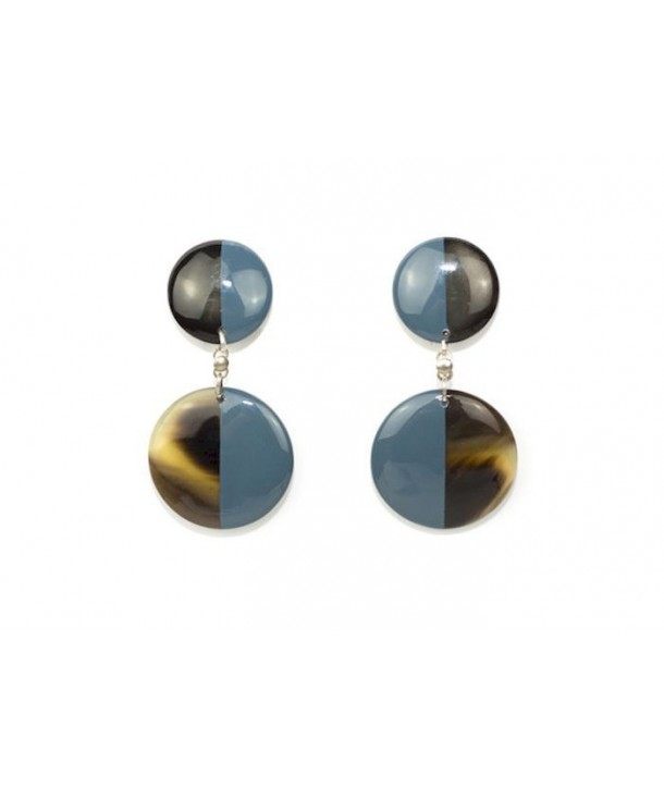 Boucles d'oreilles double disques pleins laqués gris-bleu