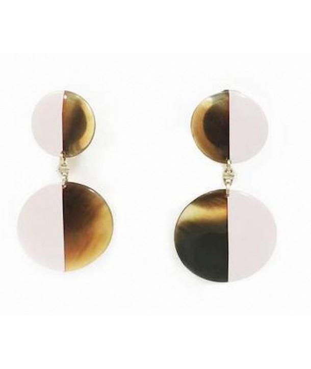 Boucles d'oreilles double disques pleins laqués ivoire