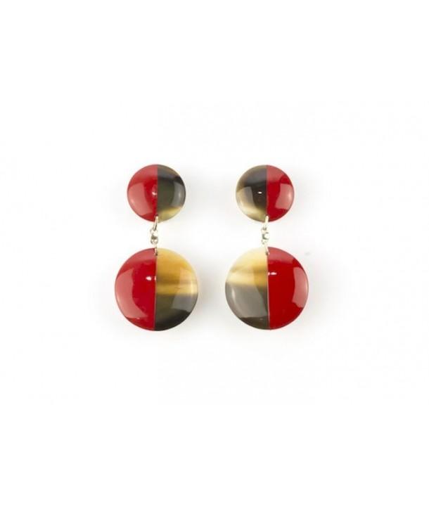 Boucles d'oreilles double disques pleins laqués rouge
