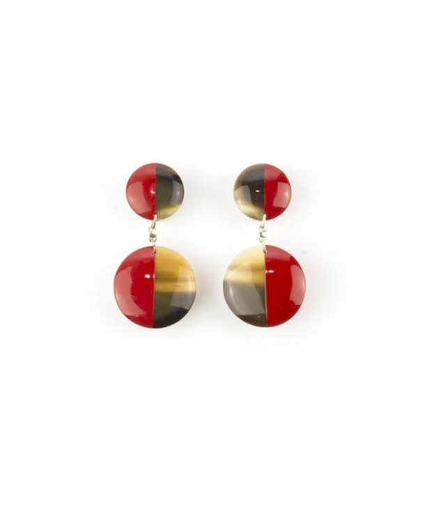 Full double disc earrings with red lacquer