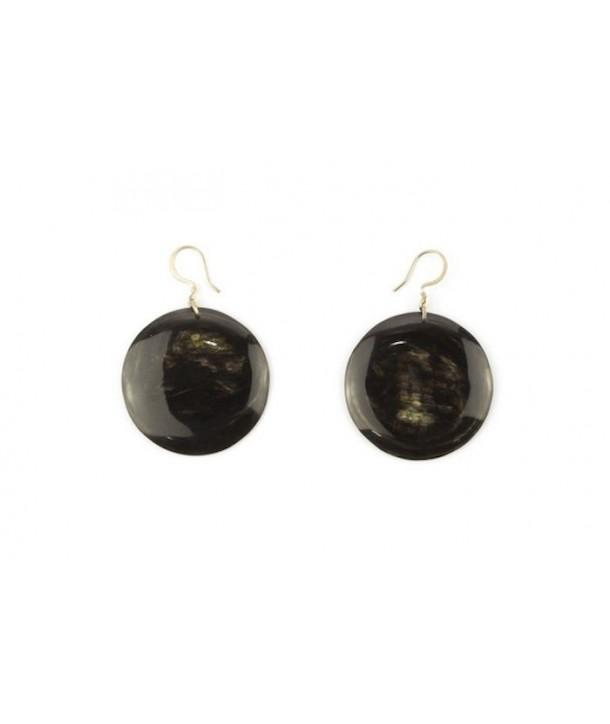 Full disc earrings in marbled black horn