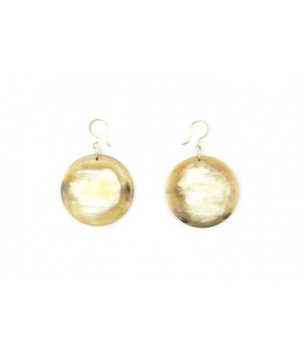 Full disc earrings in blond horn