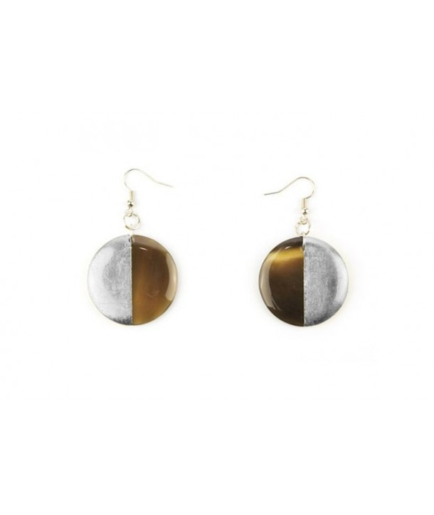 Full disc silver lacquered earrings