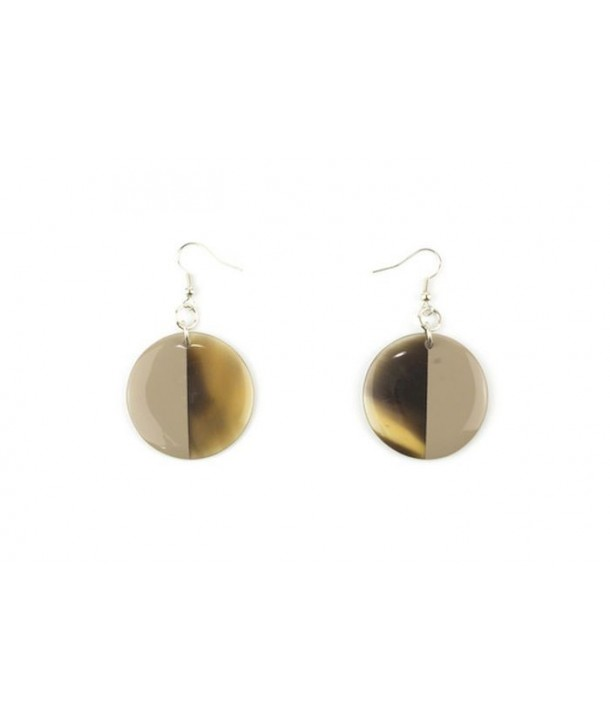Full disc cream-coffee lacquered earrings